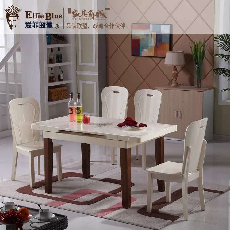 Table wood table and chair combination retractable folding table round table round table home table small family dining table package post
