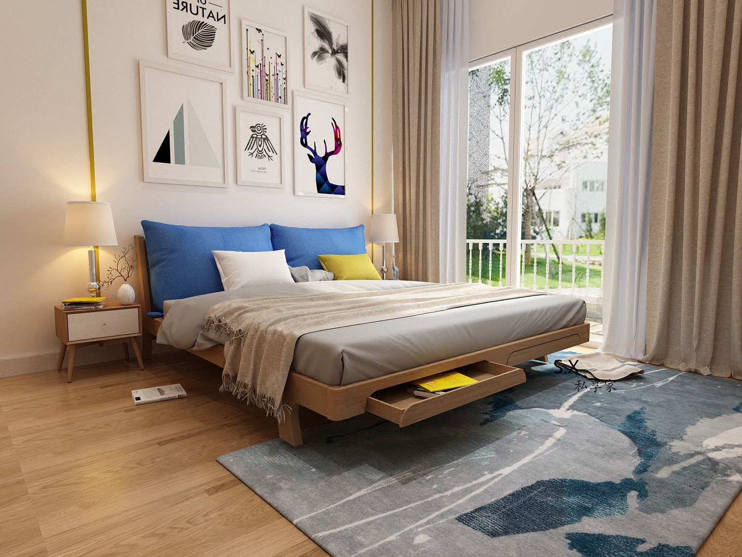 Nordic wind modern simple new Chinese style Japanese solid wood black walnut 1.8 bed double bed