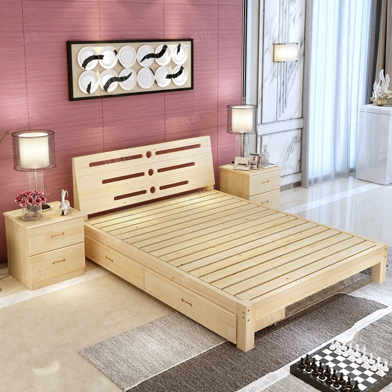 Solid wood bed master, soft wood bed, Hu wood color double bed, modern simple 1.8 meter wedding bed