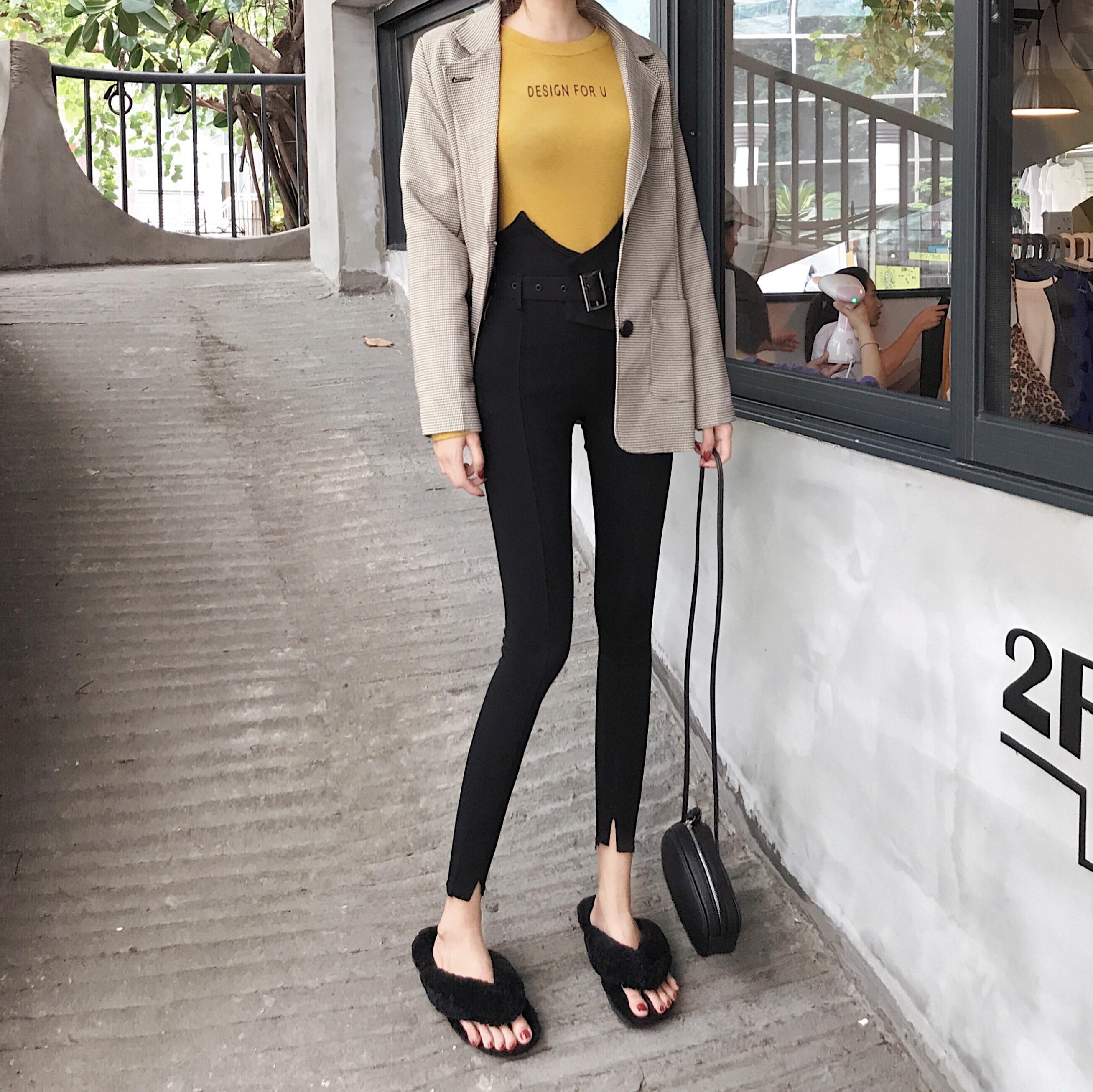 (实拍)韩国春季外穿打底休闲裤女修身显瘦腰带百搭铅笔裤潮 6267#