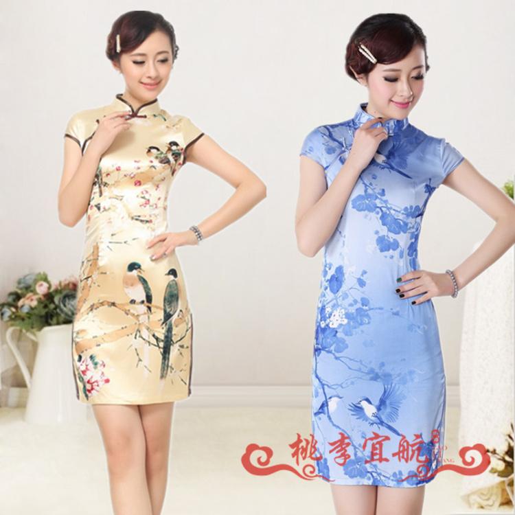 藍色d0197-as桃李*喜鵲 旗袍夏裝時尚改良 修身淑女少女顯瘦唐裝旗袍 短款性感