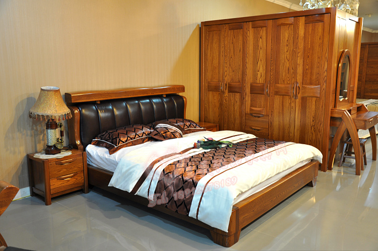 The import of old elm wooden wooden bed bed solid wood bed 1.8 meters of new Chinese elm wooden bedroom suite