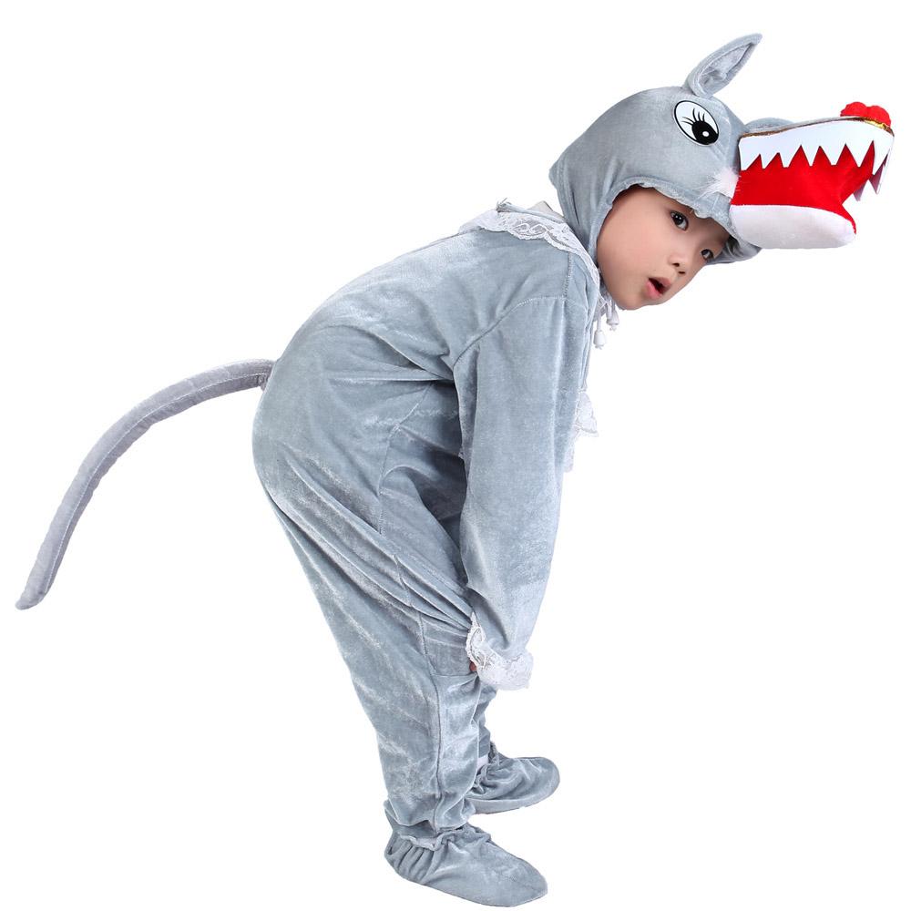 頭飾單拍110cm六一兒童演出服大灰狼演出服兒童表演服裝 成人動物服狼造型套裝