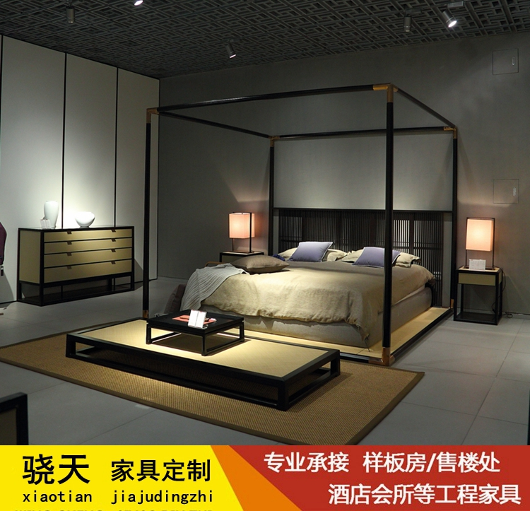 New Chinese style shelf bed, Antique Bed pillar bed, solid wood double bed, soft elevated bed model house, hotel furniture