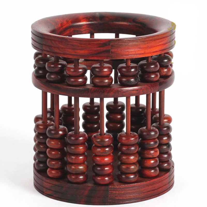 老撾大紅酸枝筆筒 毛筆筆筒木制辦公算盤 紅木雕工藝品復古多功能