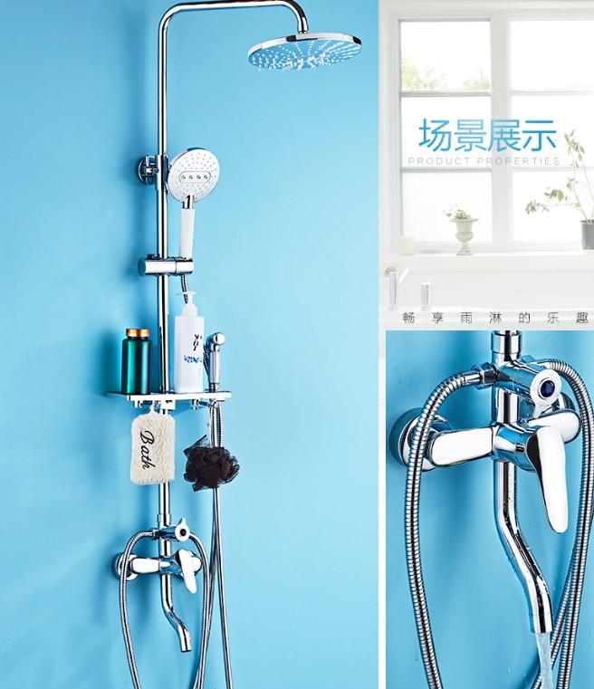 Interruptor de presión del panel de la ducha de lluvia de elevación de temperatura por encima de la cabeza del estante de la plaza cubierta de agua caliente