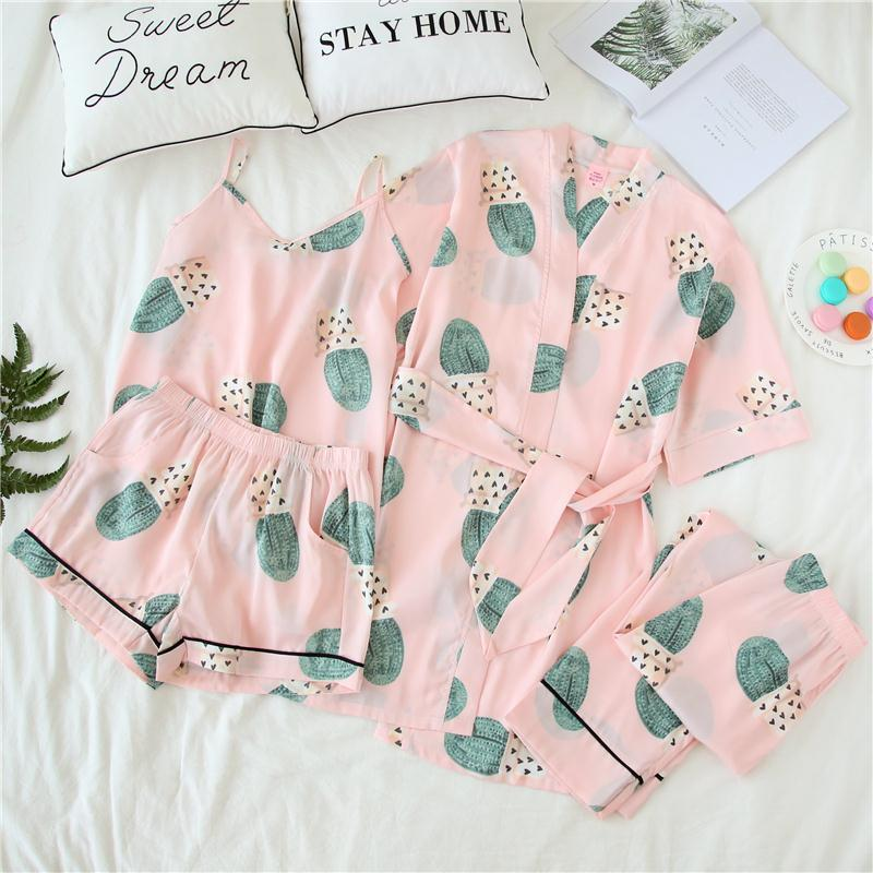 The Rose Embroidered Silk Silk sling shorts four piece suit Home Furnishing Korean pajamas sexy female cardigan