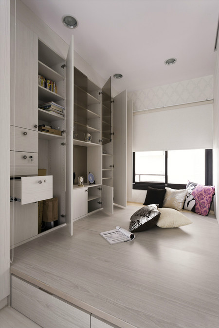 Guangzhou to build custom wood platform tatami bed tatami lockers to customize the overall wardrobe bookcase