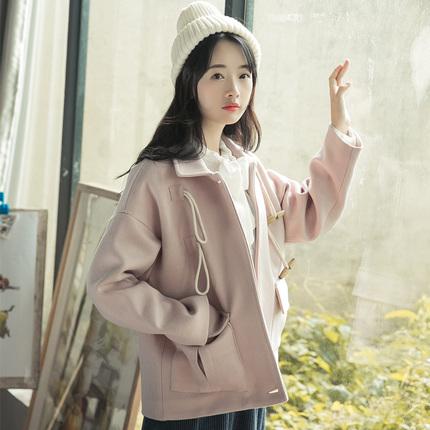 毛呢外套女短款2017冬装新款韩版宽松学生粉色牛角扣加厚呢子大衣
