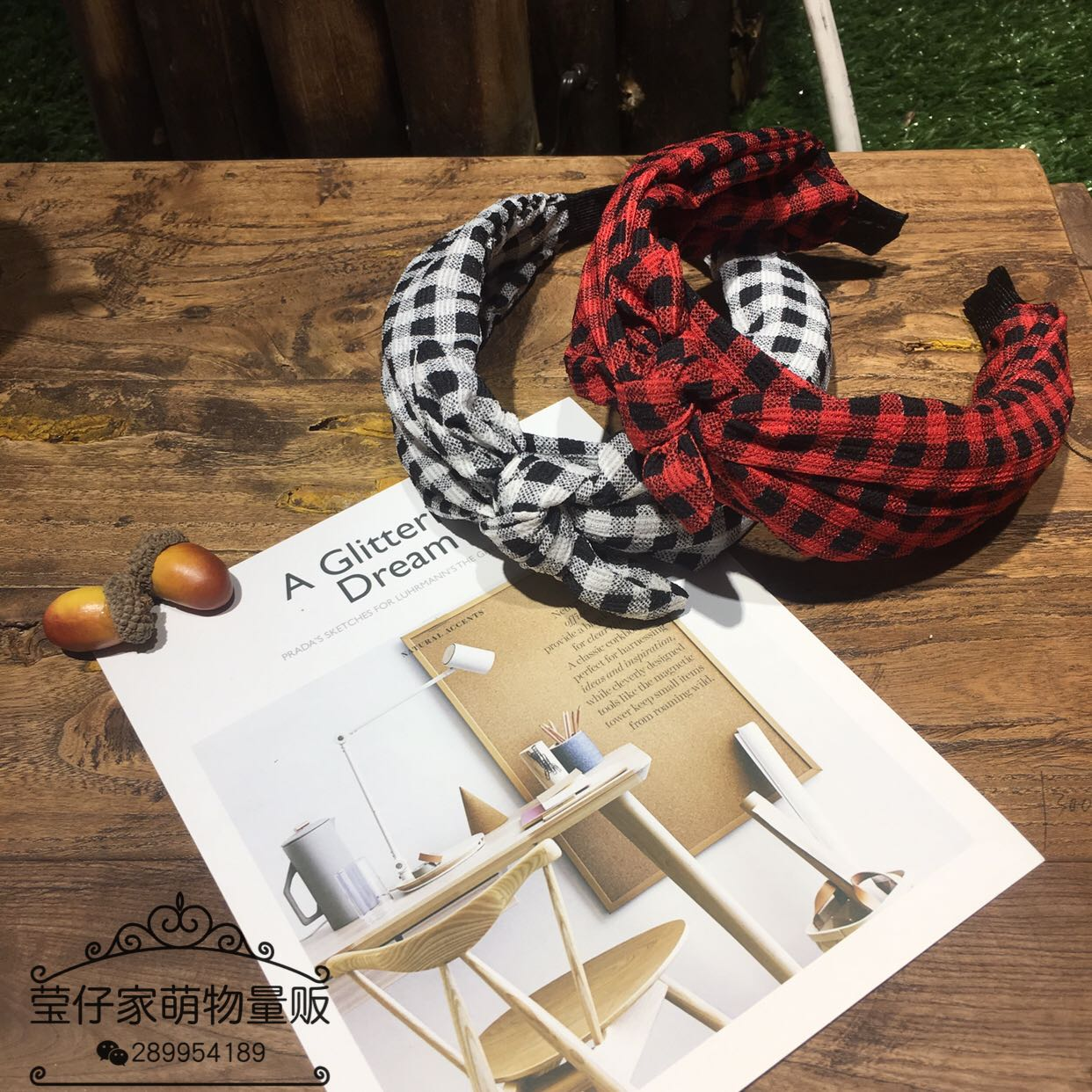 Han Guodong gates new temperament small squares all-match broadside rabbit ears headband hair accessories hairpin
