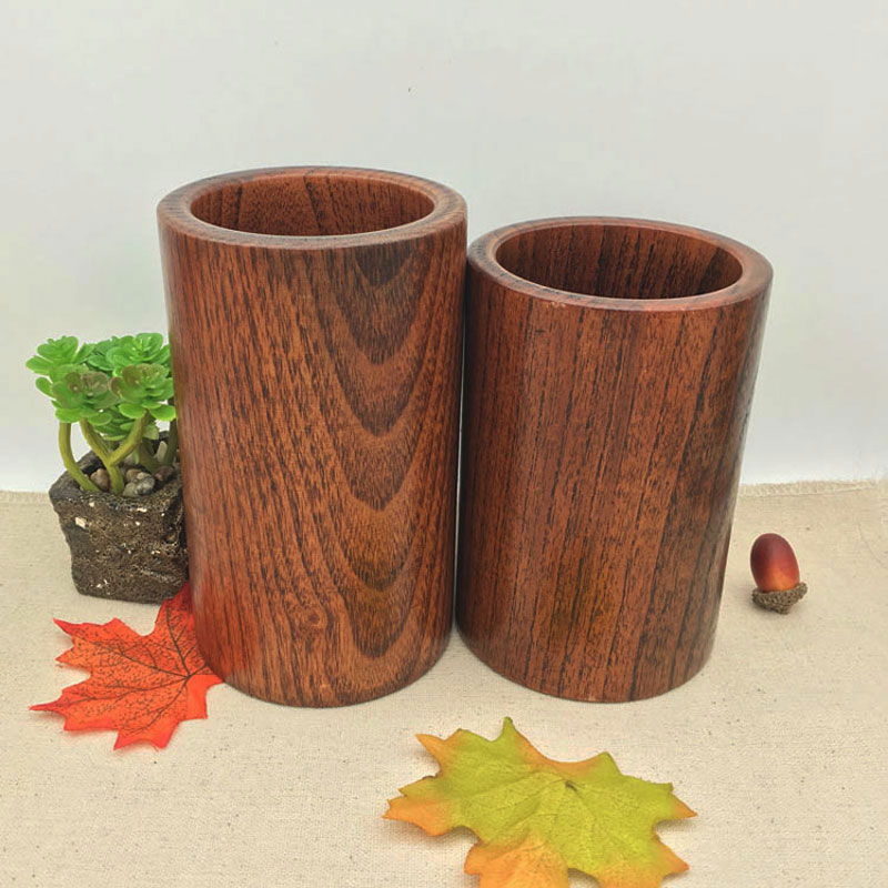 大號實木實木筆桶抽屜國學大號筆筒創意辦公桌金屬擺件創意辦公桌木制創意