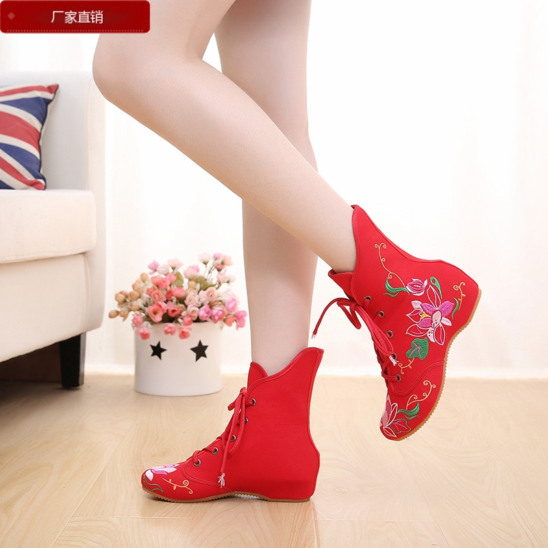老北京布鞋民族風繡花繫帶單鞋內增高女鞋秋鼕時尚休閑高幫棉靴子