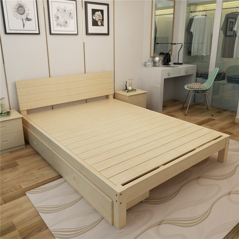 A solid wood bed 1.5 double bed single bed adult 1.8 pine 1.2 modern tatami wood