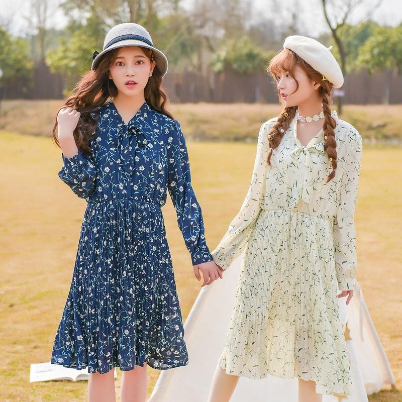 Áo sơ mi/Váy nữ dáng dài họa tiết hoa nhí phong cách học sinh trẻ trung phù hợp cho mùa xuân