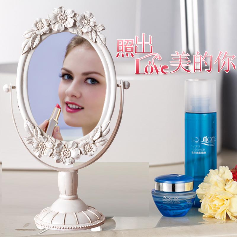 白色歐式復古化妝鏡 樹脂雕刻工藝品擺件 臺式化妝鏡美容梳妝鏡子