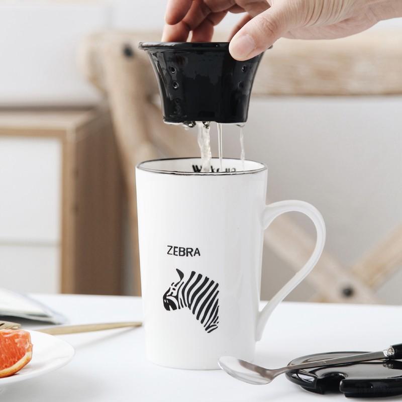 新品简约可爱茶水分离泡茶陶瓷杯过滤带盖勺家用咖啡马克杯子定制