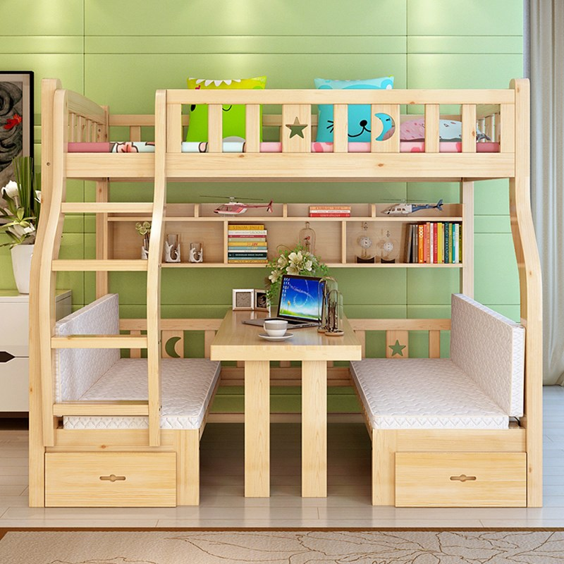 All solid wood children get out of bed, pine high and low bed, solid wood bed, double bed, double bed, lower table with learning table bed