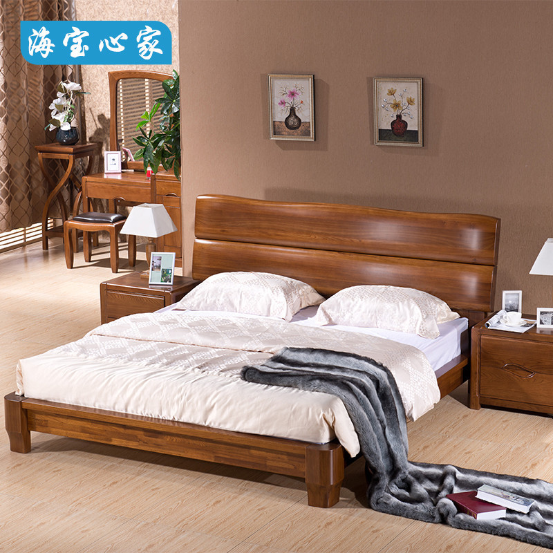 The pure old elm wood bed bed full 1.51.8 m thick section of the modern marriage bed of new Chinese style furniture bedroom bed