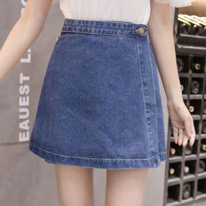 實拍2018春季新款牛仔裙女夏裝高腰半身裙紐扣a字裙短裙