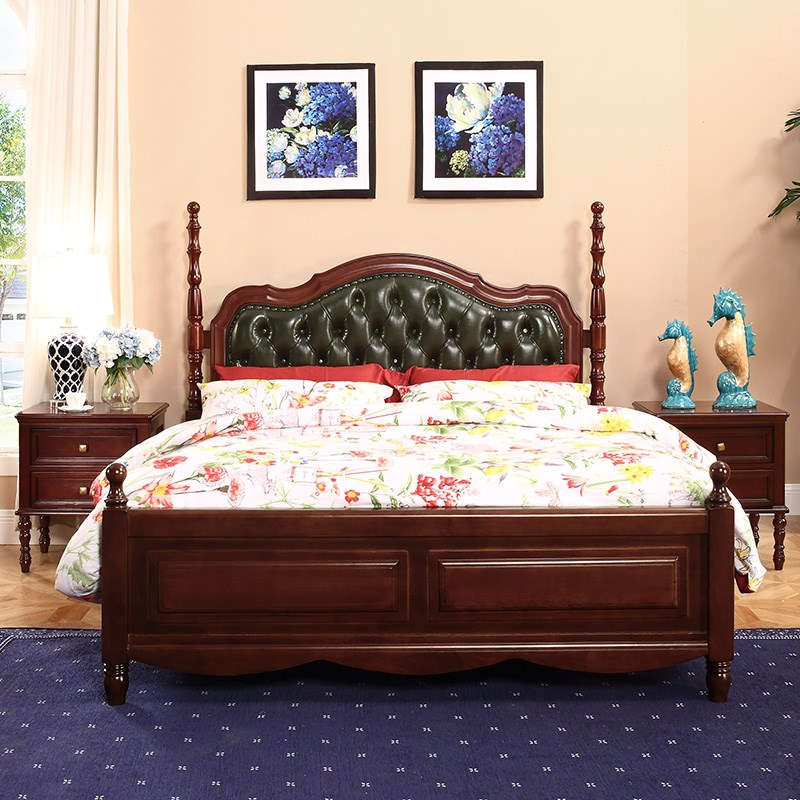 Home style country European style bedroom furniture, American solid wood bed, skin bed, soft double bed, bed bed