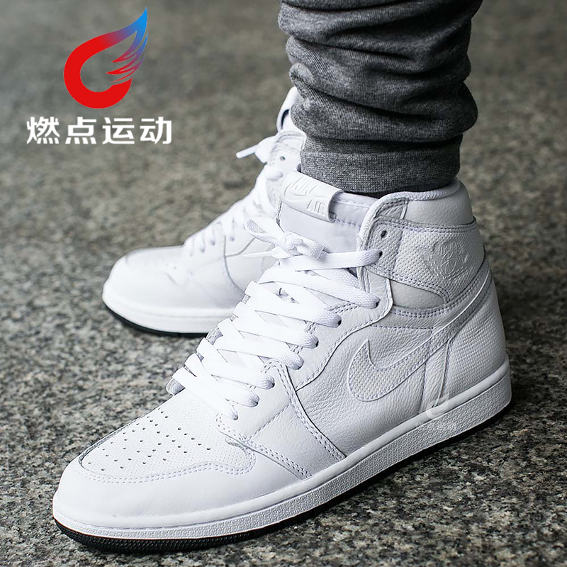 正品AIR JORDAN 1 HIGH纯白女鞋AJ1高帮篮球鞋男鞋555088-002-100