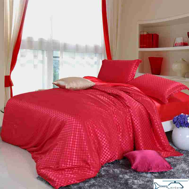 Preferential treatment inventory cheap sale of four sets of modal silk jacquard bed skirt dark fitted bed bag