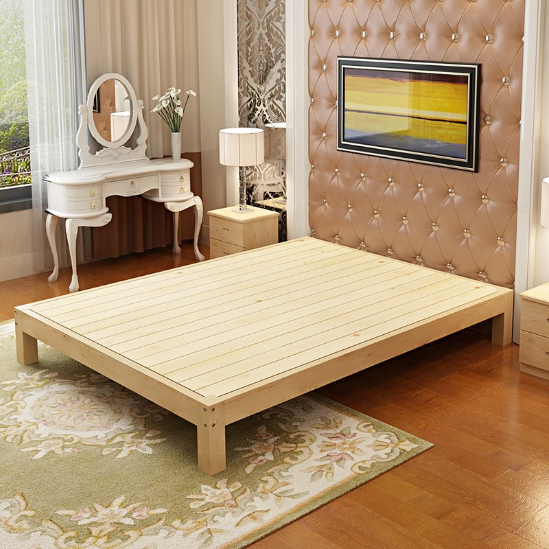 Modern minimalist pine wood single bed double bed frame 1.21.5 tatami bed 1.8 meters of logs without tidal models