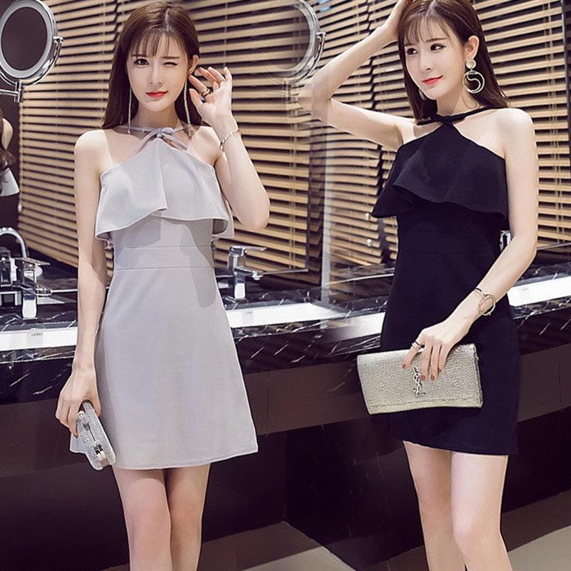 2017夏季新款韓版夜店女裝裙性感修身荷葉邊掛脖無袖露肩連衣裙子
