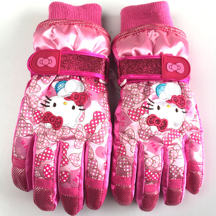 特价 韩国Hello kitty儿童加绒女童冬保暖防水玩雪滑雪手套