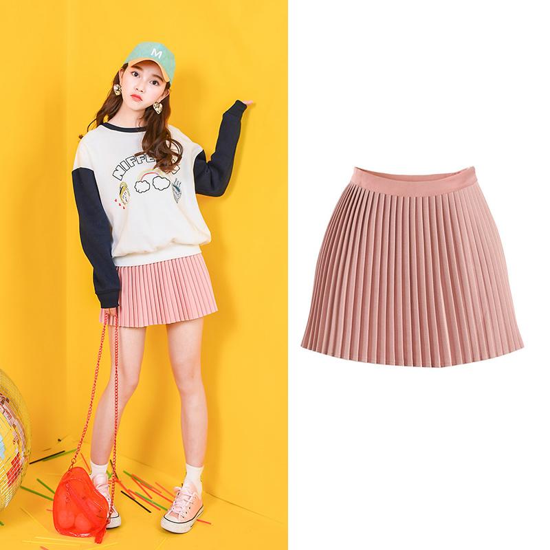 Váy/Váy chữ A xếp li dễ kết hợp phong cách Nhật Bản phong cách ngọt ngào