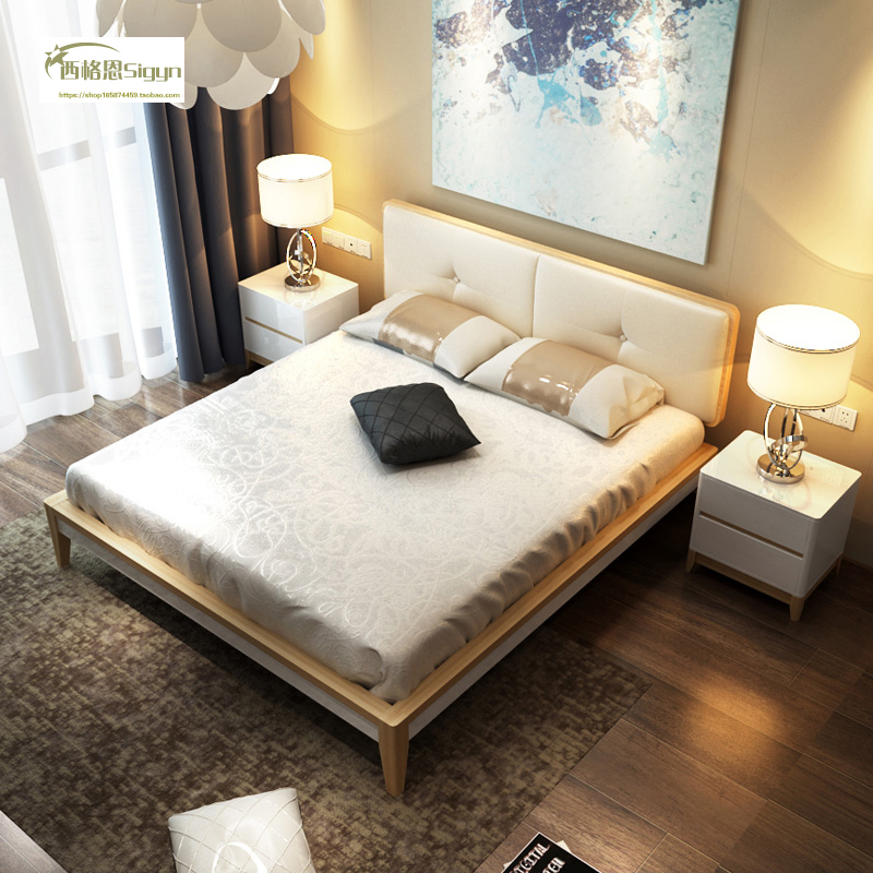 Solid wood painting bed 1.8 meters of modern Nordic style double log storage bed 1.5m simple marriage bed