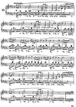 NO.15 钢琴谱 带指法 原版 乐谱