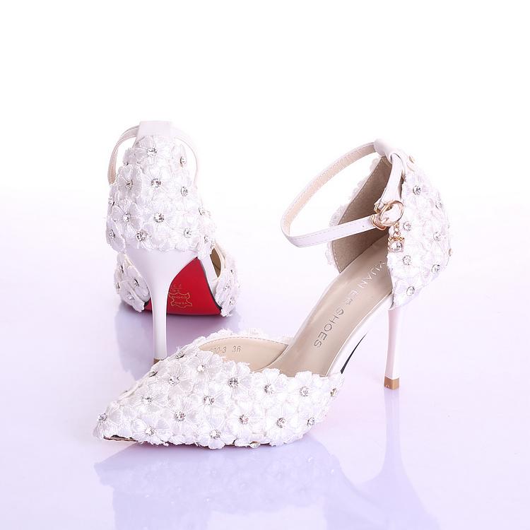 夏季新款红色新娘水钻花朵新娘鞋超高跟细跟拍婚纱照鞋婚鞋女凉鞋