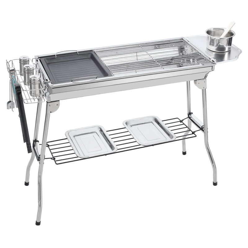 Barbecue outdoor barbecue frame, outdoor smokeless portable folding charcoal barbecue stove, field large family full set
