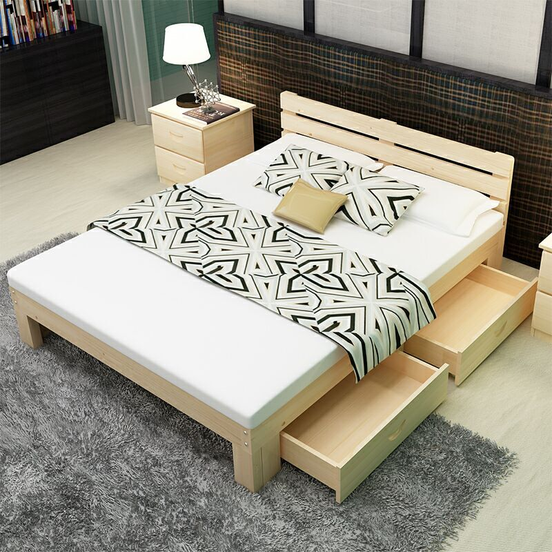 Nordic solid wood bed economy modern simple 1.5 meter 1.2 double bed 1.8m Japanese log simple pine bed