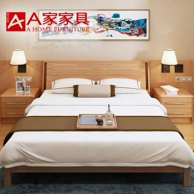 Simple solid wood bed 1. Nordic original double bed wood bedroom suite, simple modern 8 meters 1.5