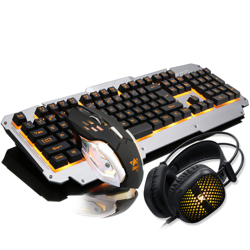 El teclado y el ratón vaquero semi - mecánica de juego de auriculares traje de tres piezas clave en la computadora de escritorio de silencio mudo el teclado