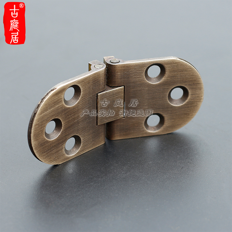 Table hinge, folding table fittings, flat open, hardware, pure copper, antique folding and folding board, hidden invisible full copper platform hinge