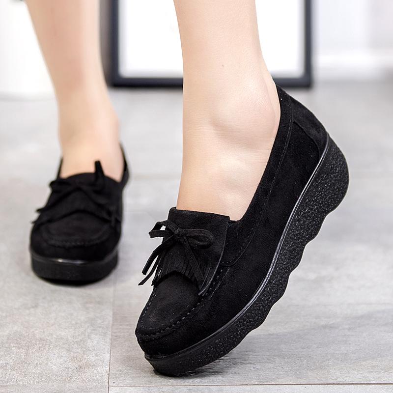 老北京布鞋春秋新款厚底松糕工作單鞋坡跟蝴蝶結圓頭豆豆搖搖女鞋