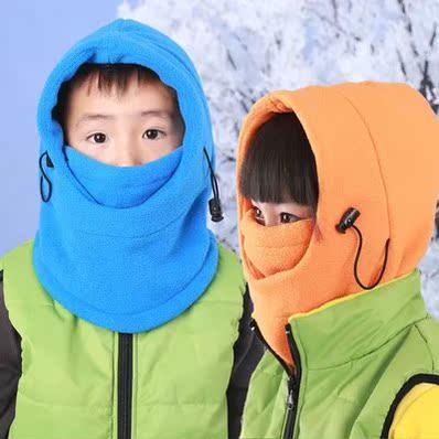 特价儿童户外保暖头套面罩防风帽子滑雪帽骑行面罩双层抓绒帽CS帽