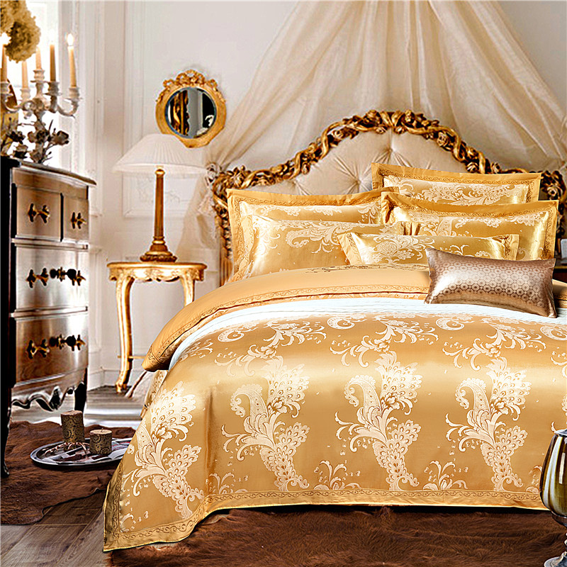 Four sets of Satin Jacquard and embroidery silk cotton sheets