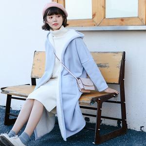 2017秋冬季新款羊羔毛加绒加厚连帽棉衣风衣外套女中长款大衣