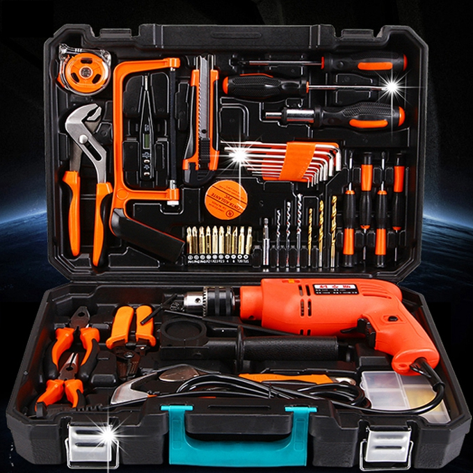 La Suite di UTENSILI domestici Multi - funzione Hardware degli attrezzi manutenzione Elettrica Set di strumenti combinati con un trapano.