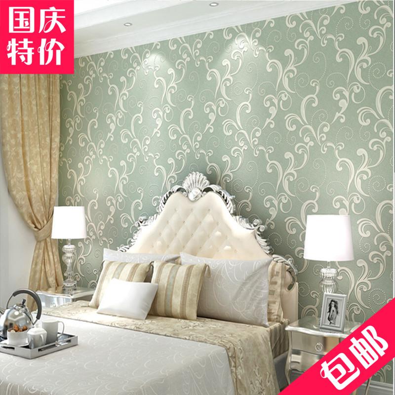 50501環保歐式3d立體臥室客廳電視背景無紡布植絨墻紙 浮雕香檳色綠色