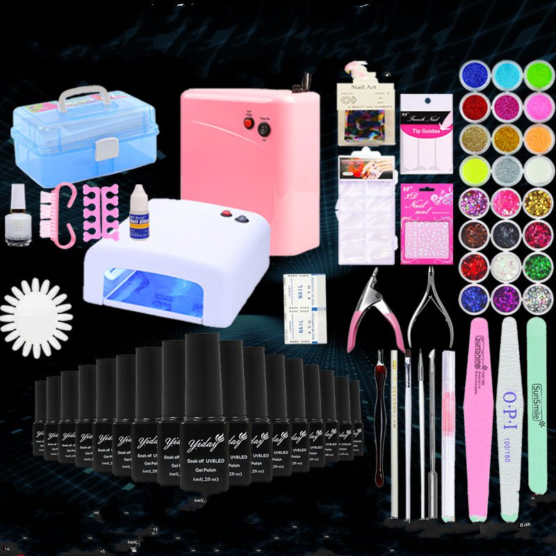 Manicure kit for beginners a full set of phototherapy machine lamp nail polish glue Cutex Nail Decals QQ Bobbi