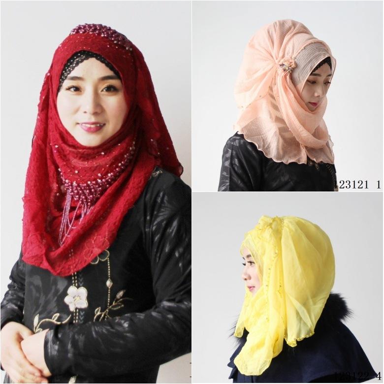 酒紅色穆斯林蓋頭女回時尚方便套頭褶皺雪紡串珠回族繡花紗巾長巾禮拜帽