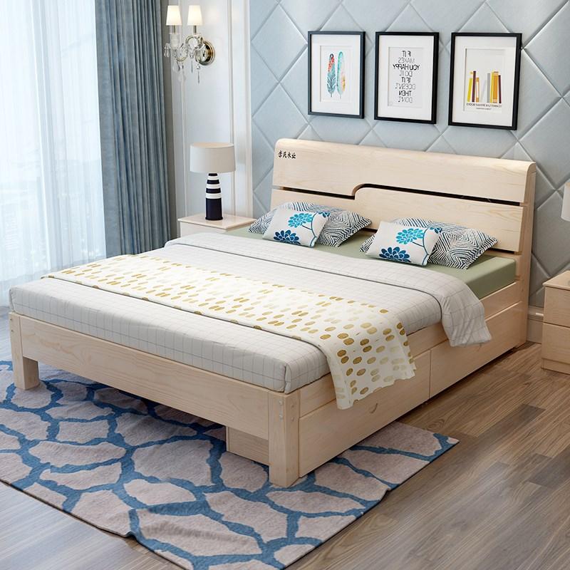 シンプルな現代ダブル成人組立ベッド主卧シングル1 . 8メートルいちメートルに経済型の小型木造床