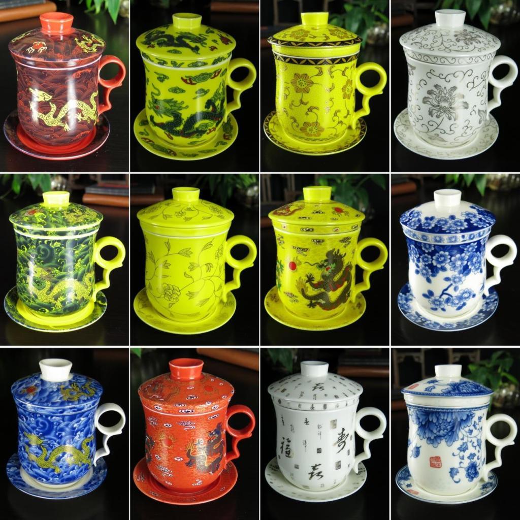 黃三羊開泰帶蓋過濾陶瓷茶杯辦公杯泡茶個人杯四件套茶具會議杯水杯青花骨瓷
