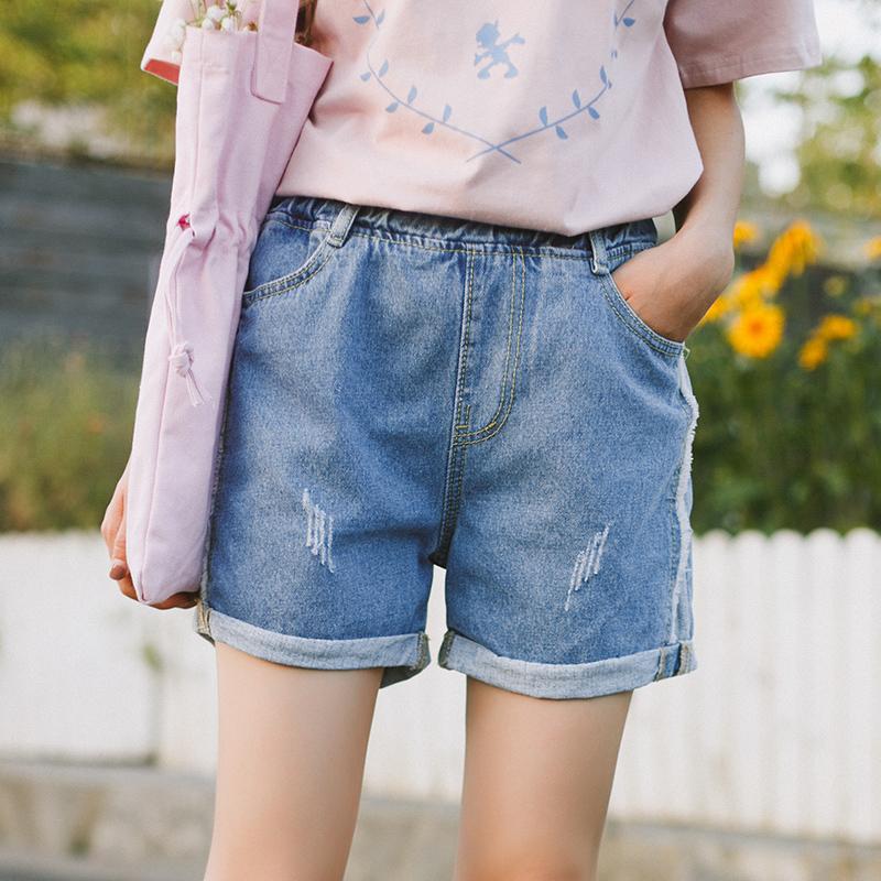 Quần sooc bò/Quần nữ tôn dáng chun eo gấp gấu phong cách Hàn Quốc dễ kết hợp phù hợp cho mùa hè phong cách học sinh mẫu mới nhất