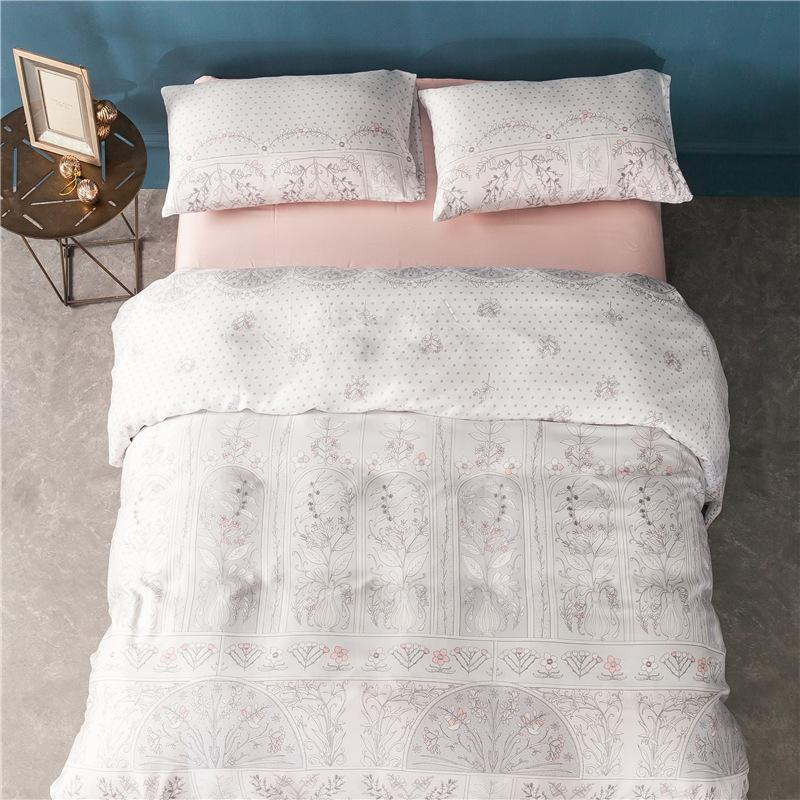 Spring and summer authentic European garden 100% 60 small fresh pure Tencel bedding quilt four sets